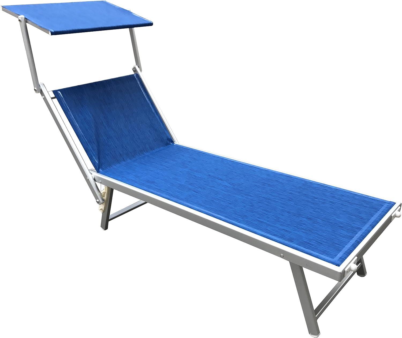 Lettino Lido Sdraio Prendisole mare Stabilimento Spiaggia Professionale Struttura in Alluminio reclinabile 3 posizioni Melange Azzurro con tettuccio Parasole in texilene da 750 grammi