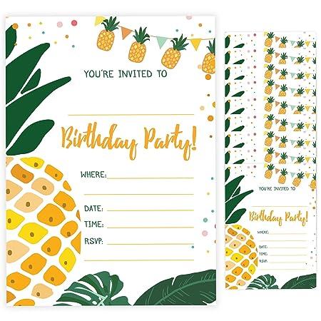 Tarjetas de invitaciones de cumpleaños estilo piña 3 (10 ...