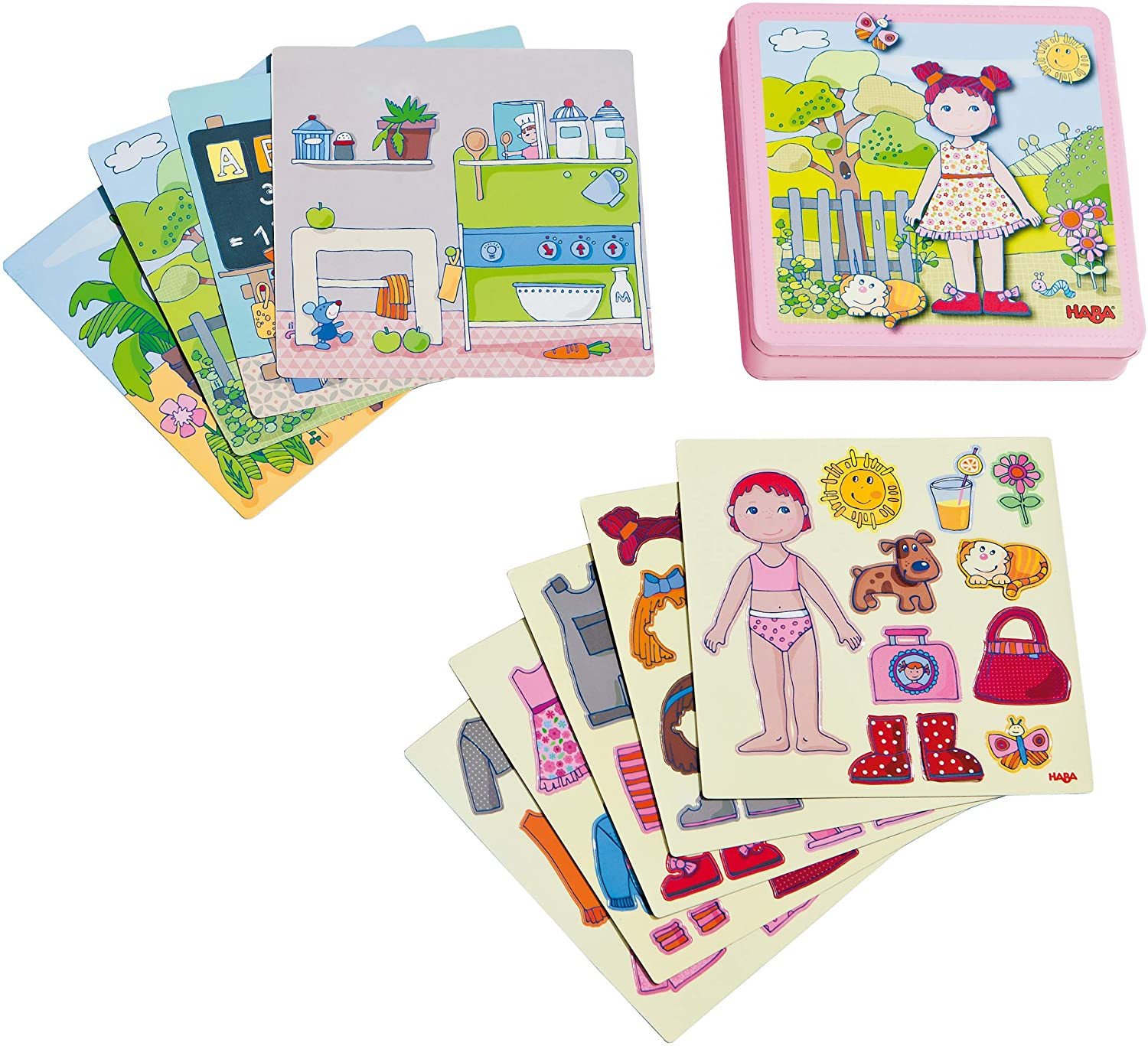 HABA Dress-up Doll Lilli Magnetic Game Box - 54 Magnet Pieces and 4 Backgrounds in a Sturdy Metal Tin