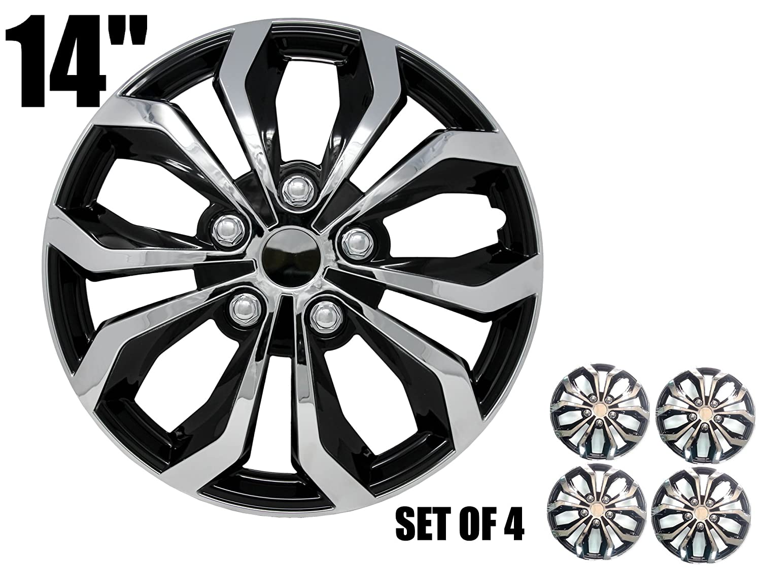 SUMEX SPA Performance Wheel Cover, Hub Cap Two Tone Black/Chrome Silver Finish, (Pack of 4)