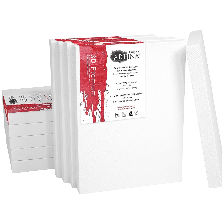 Artina 5er Set - 60x80 cm Leinwand aus 100% Baumwolle auf stabilem Keilrahmen in 3D Premium Qualität - 380 g m² B0130R1LC0 | Verkauf