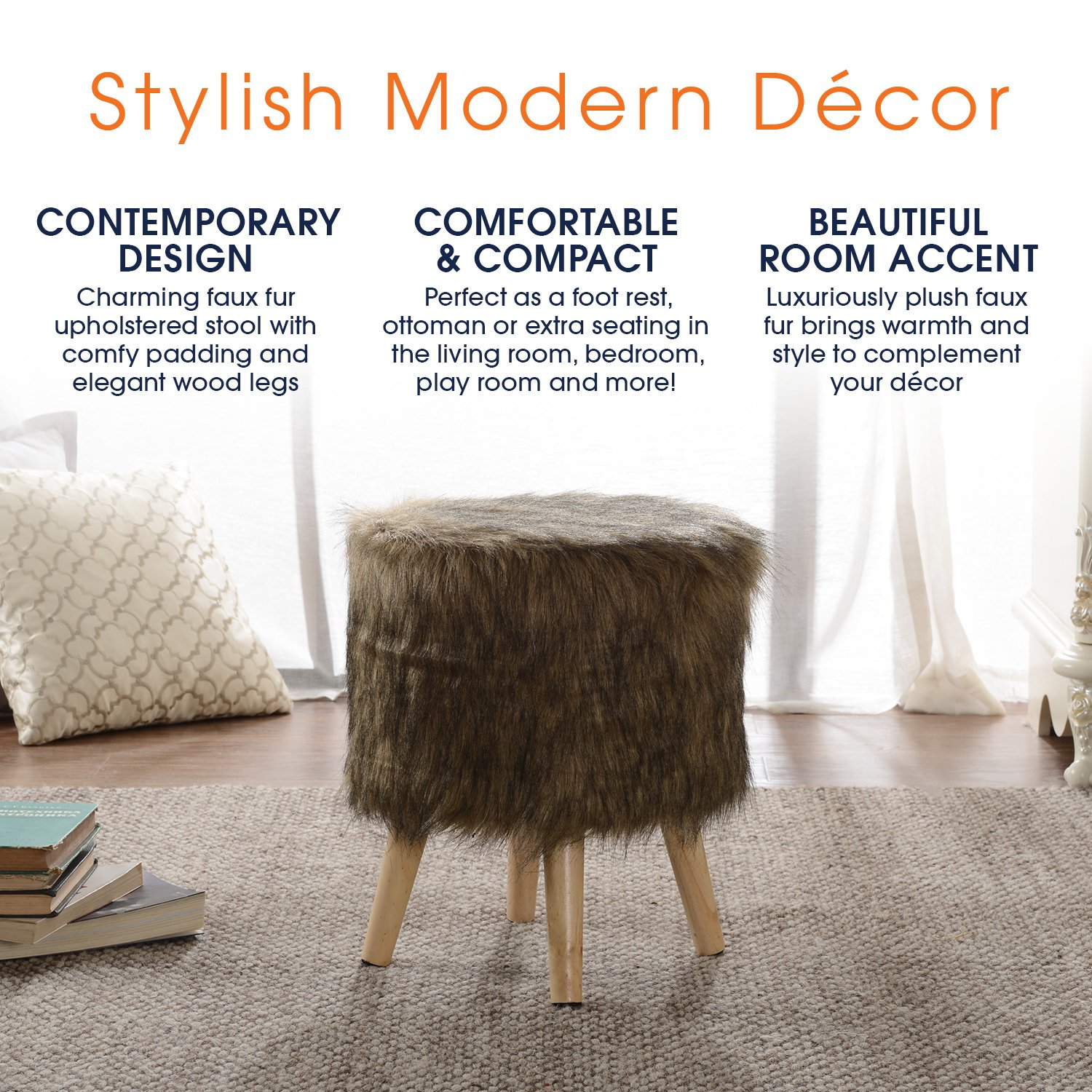 Cheer Collection 13'' Round Ottoman | Super Soft Decorative Brown Mink Faux Fur Foot Stool with Wood Legs by Cheer Collection (Image #4)