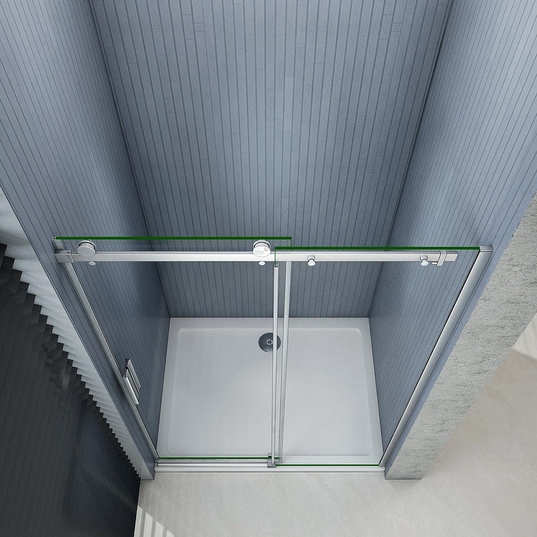 Porte de douche coulissante 140x195cm,installation en niche 8mm verre tremp/é anticalcaire, vitrification NANO