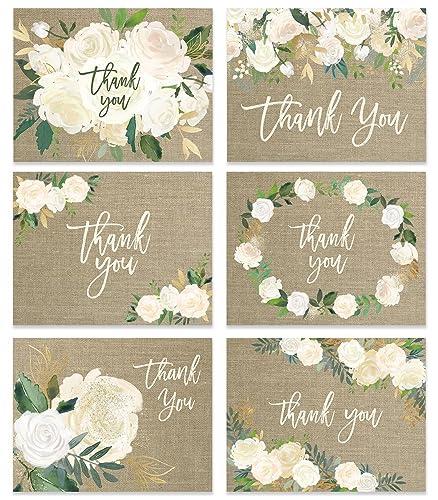 Amazoncom Rustic Wedding Thank You Cards Set Of 24 Premium All