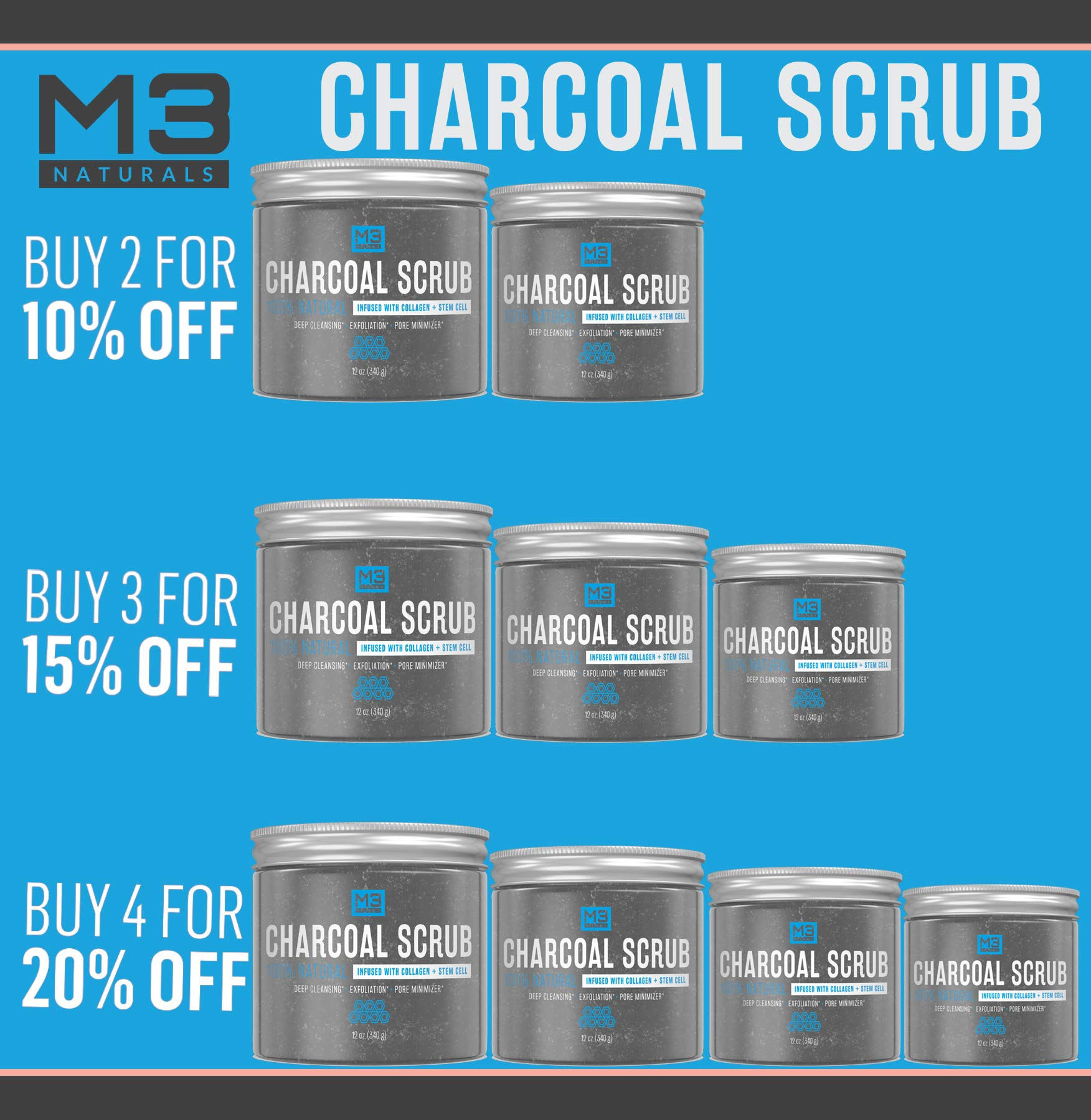 M3 Naturals Activated Charcoal Scrub Infused with Collagen & Stem Cell All Natural Body & Face Skin Care Exfoliating Blackheads Acne Scars Pore Minimizer Reduces Wrinkles Anti Cellulite12 OZ by M3 Naturals (Image #6)
