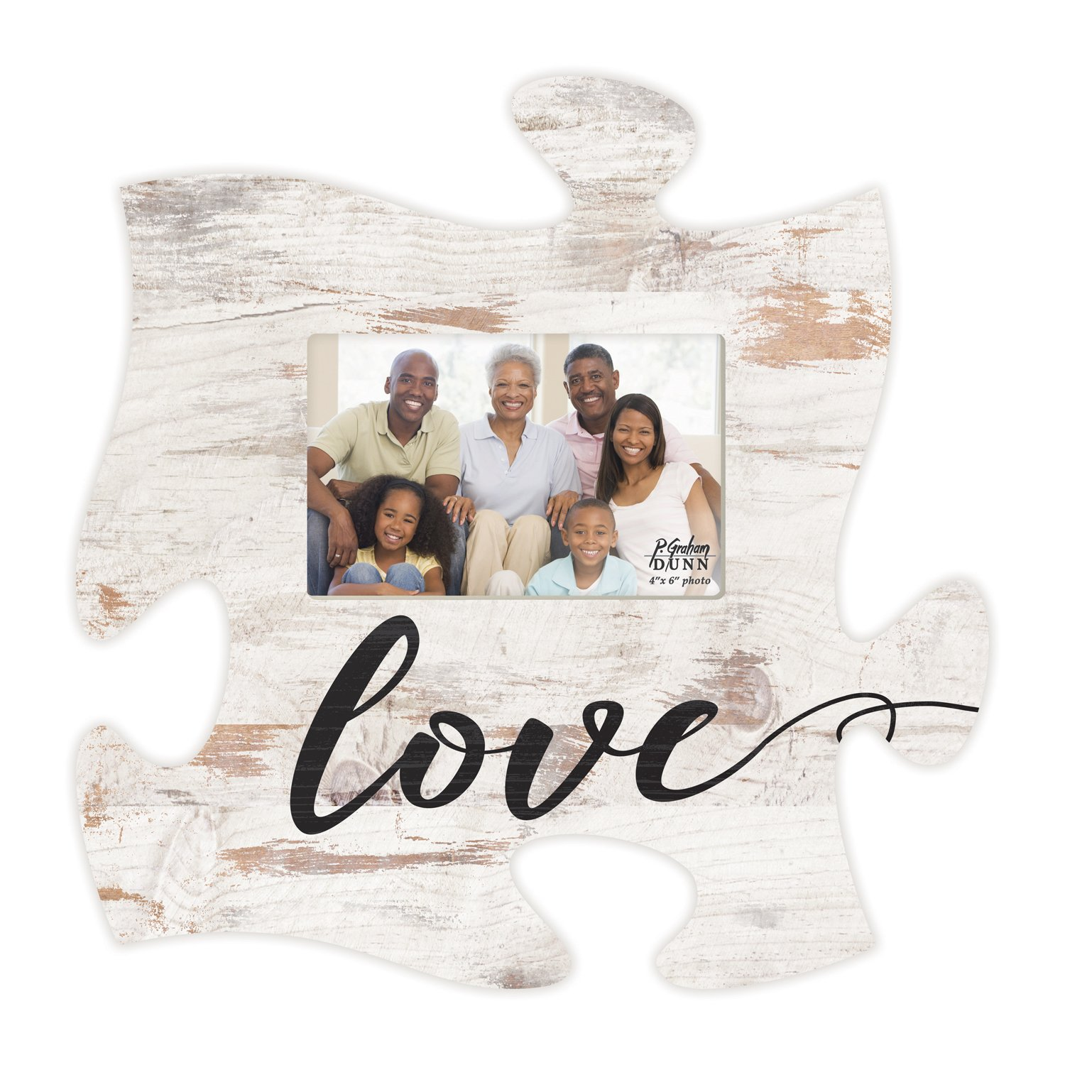 Love Script Design White Distressed Wood Look 4 x 6 Wood Puzzle Wall Plaque Photo Frame