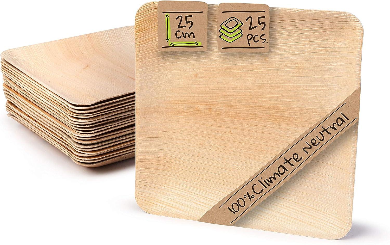 BIOZOYG Palmware Platos de Hojas de Palma I 25 Piezas de ojas de Palma Rectangular 25 x 25 cm I Bio vajilla desechable Boda compostable Biodegradable Vajilla de Fiesta