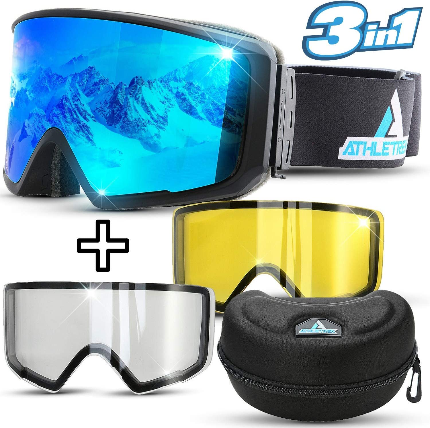 Athletrek Ski Snowboard Goggles 3 Unique Magnetic Fast Changing Lenses for All Weather Conditions UV400 Protection OTG Wide Vision Spherical Anti-Fog Dual Lens Anti-Slip Strap Adult Youth