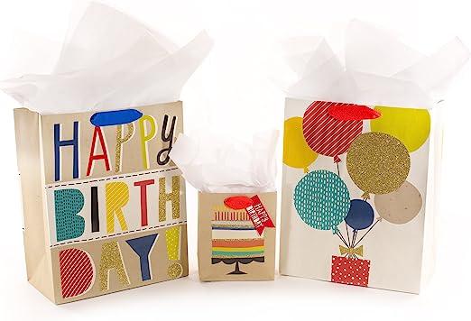 Amazon.com: Hallmark – Bolsa de regalo de cumpleaños surtido ...
