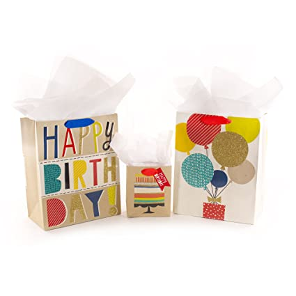 Amazon Hallmark Birthday Gift Bag Assortment White And Kraft Pack Of 3 Various Sizes Kitchen Dining