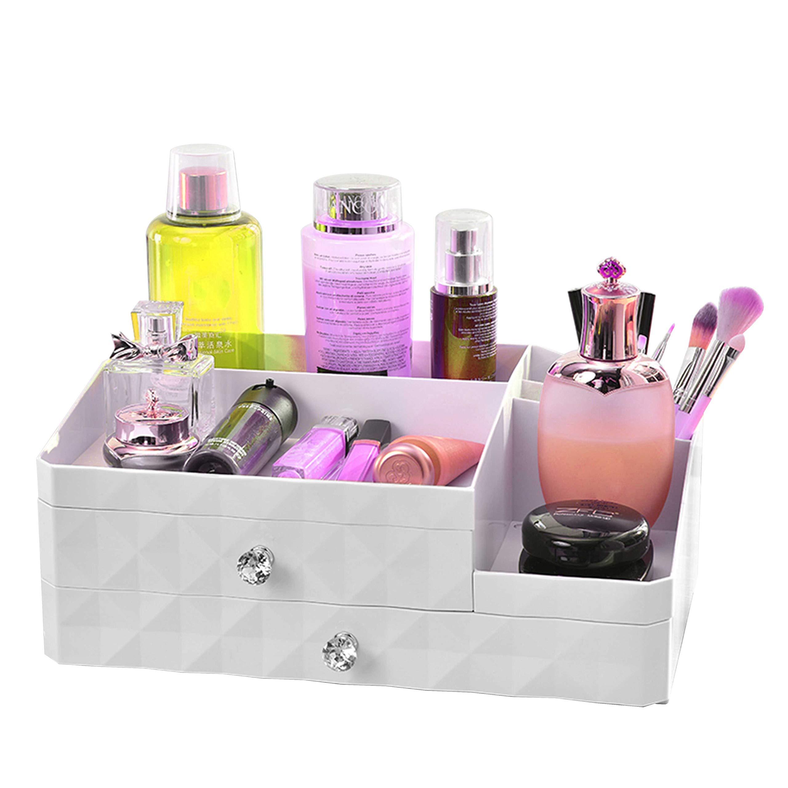 WEBI Jewelry & Makeup Drawer Organizer: Large Capacity, 3 Layers, Countertop Cosmetic Display Case, Jewelry Storage Box Holder, Vanity Bathroom Beauty Organizer, White