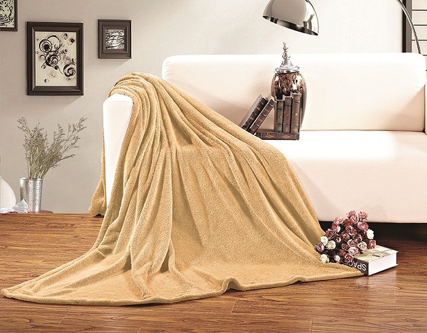 """Elegant Comfort Ultra Super Soft Fleece Plush Luxury Blanket Full/Queen Gold - Made from ultra-soft 100-Percent polyester for the ultimate in warmth and softness. 100% Polyester Full/Queen size measures 90"""" by 90"""" Easy care feature means that it's machine washable and dryable - blankets-throws, bedroom-sheets-comforters, bedroom - 816fWYGWZ7L -"""