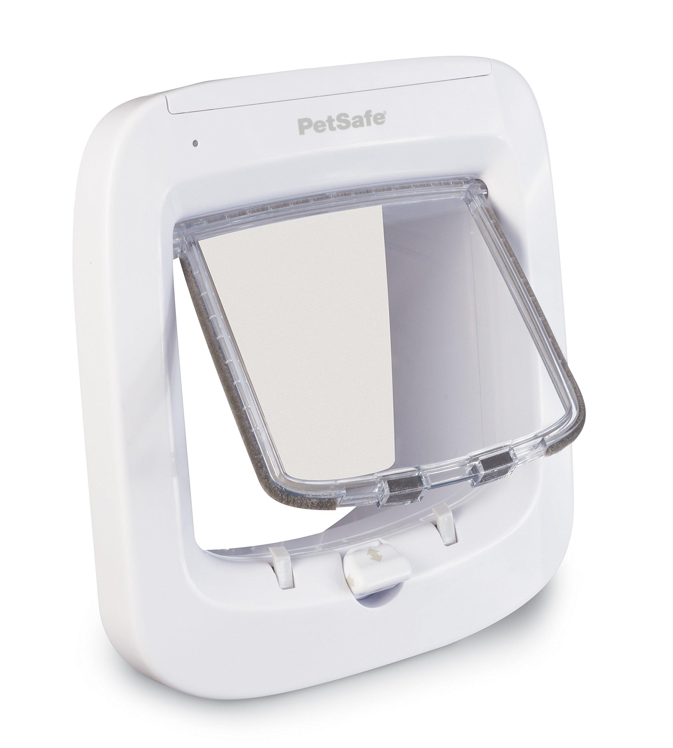 PetSafe Microchip Cat Door, Battery Powered Pet Door, 4-Way Locking Easy Installation, White