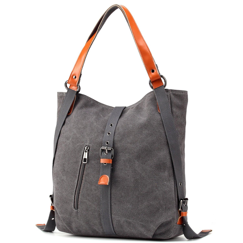 3b22892bb Womens Shoulder Bag Canvas Multifunctional Backpack Purse Rucksack  Convertible bag Crossbody Casual Tote Handbag Satchel for Ladies Girls  Travel ...
