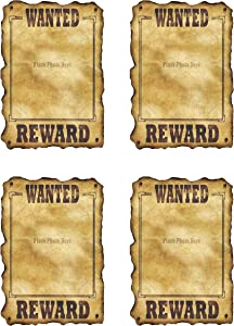 """Beistle Western Wanted Posters 4 Piece Old West Party Decorations Cowboy Theme Birthday Supplies, 17"""" x 12"""", Brown/Tan"""