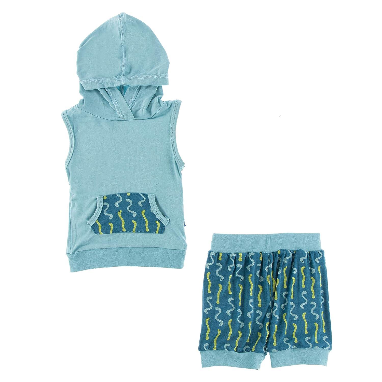 Kickee Pants Print Short Sleeve Hoodie Tank Outfit Oasis Worms - 12-18 Months