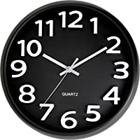 Bernhard Products Large Black Wall Clock, Silent Non Ticking - 13 Inch Quality Quartz Battery Operated Round Modern…
