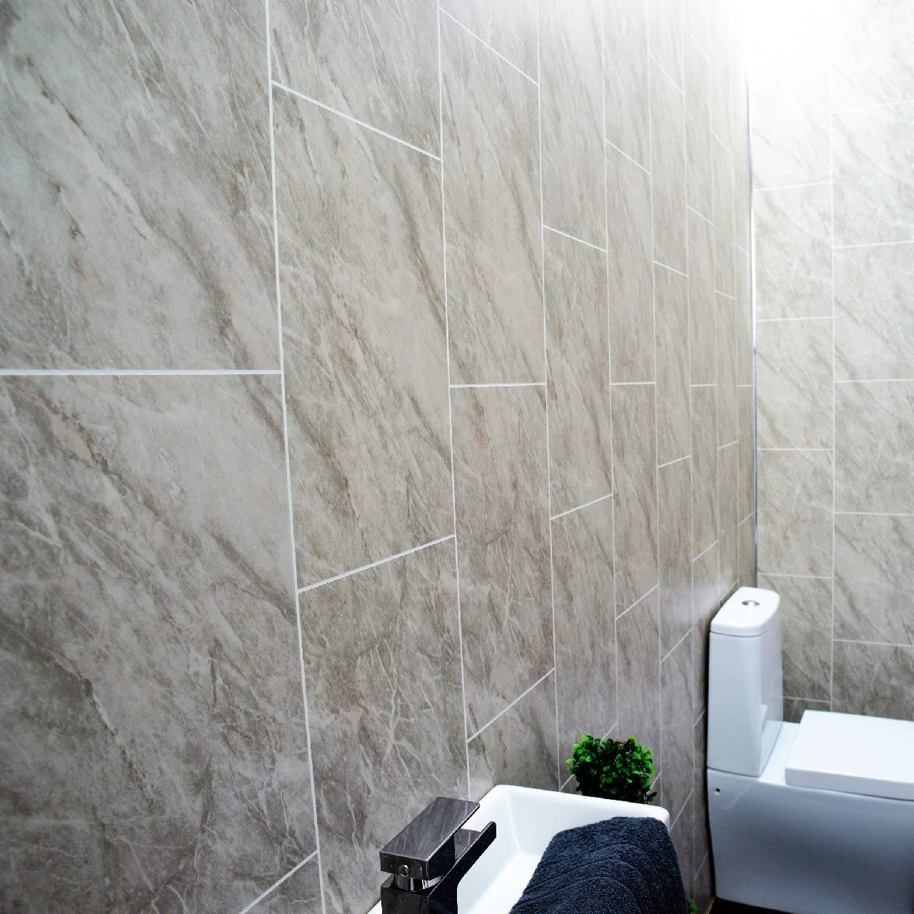 Grey Marble Bathroom Wall Panels Splashbacks Tile Effect Cladding Used In Kitchen Office Ceiling And Walls Perfect For Wet Walls In Shower Pvc Plastic 100 Waterproof 29 Panels Amazon Co Uk Diy Tools