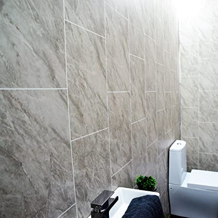 Grey Marble Bathroom Wall Panels Splashbacks Tile Effect Cladding Used In  Kitchen, Office Ceiling And
