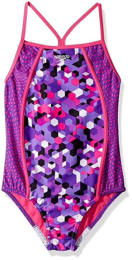e5947bf4b4e93 Amazon.com  Speedo Big Girls Diamond Geo Splice One Piece Swimsuit ...