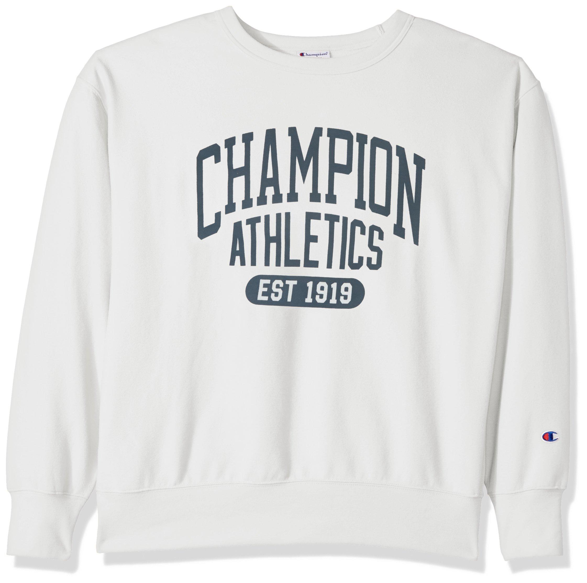 Champion Men's Heritage Fleece Sweatshirt, White Alabaster/Umbrella Arch, Large