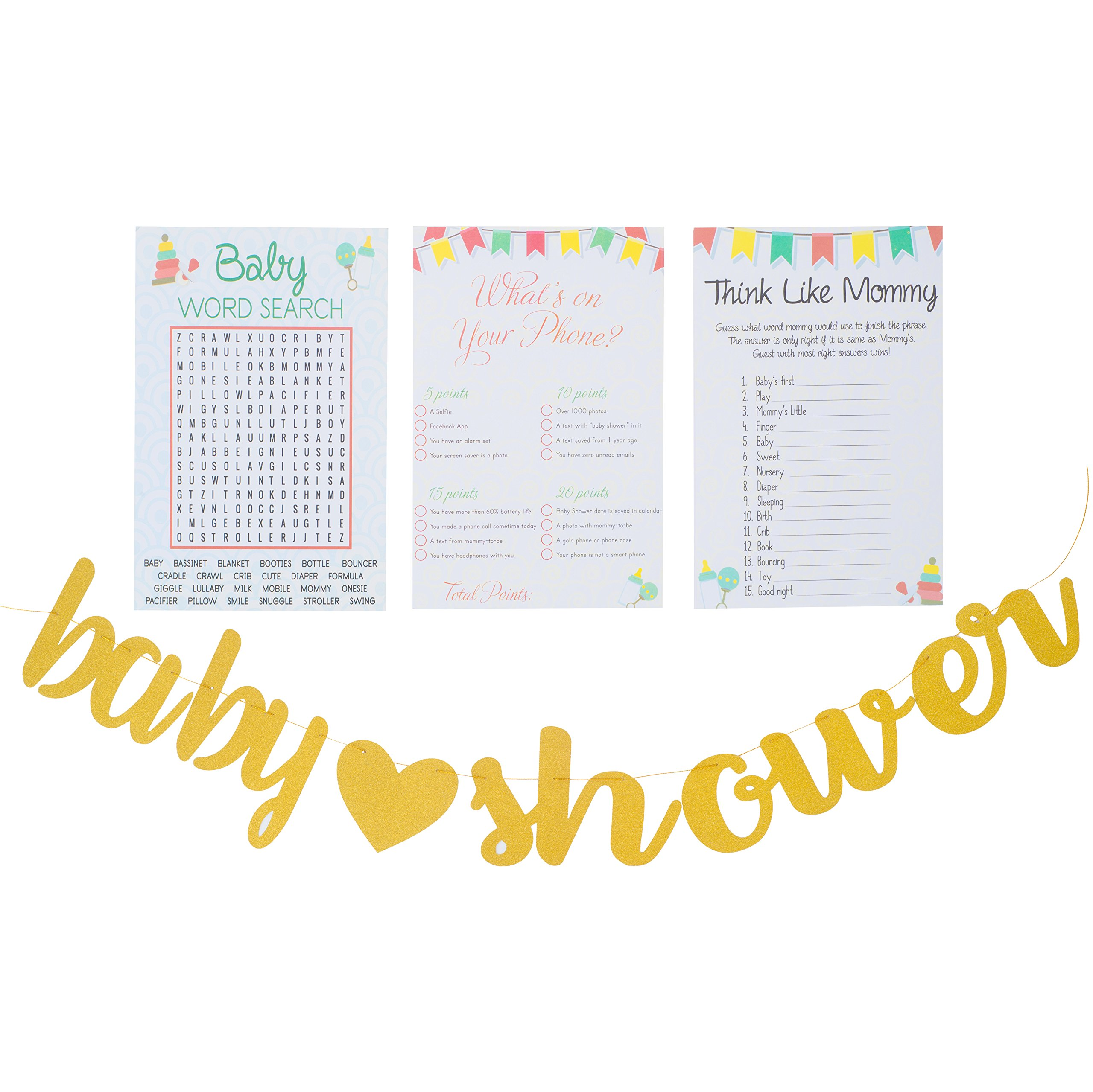 Planet Mango 3 Baby Shower Games | Baby Word Search (50 Sheets) | What's ON Your Phone (50 Sheet) | Think Like Mommy (50 Sheets) - Gender Neutral Cute and Fun Games Includes Golden Banner