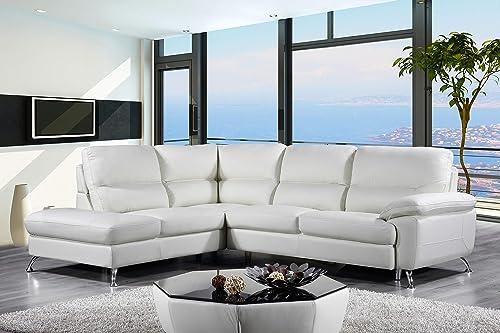 Cortesi Home Contemporary Miami Genuine Leather Sectional Sofa