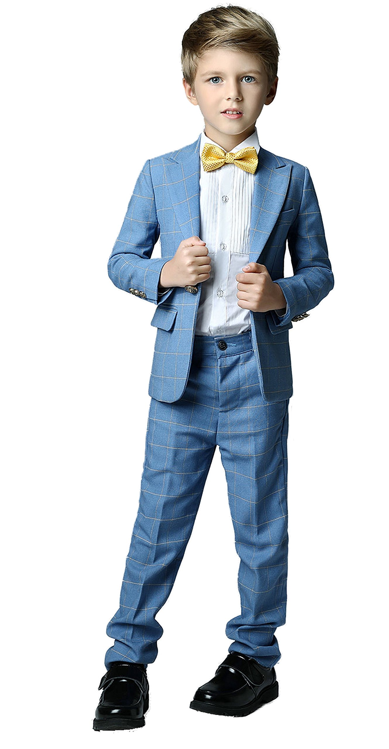 Yanlu Formal Dress Slim Fit Boys Plaid Suits for Toddler Wedding Size 6 Blue