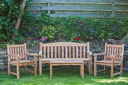 Awe Inspiring Solid Teak Garden Furniture Set Victoria Garden Bench Fixed Cjindustries Chair Design For Home Cjindustriesco