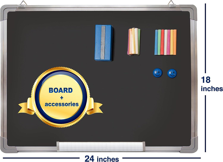 7 Colori e 2 Magneti Piccola Lavagna Nera da Muro per Messaggi Kit Lavagna Ardesia Lavagnetta Magnetica Gesso 38x30cm con 1 Cancellino Magnetico 14 Gessetti