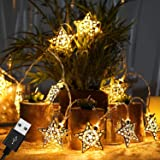TIED RIBBONS Metal Star LED Fairy String Lights(10 LED's Each) USB Powered and 2 AA Battery Operated for Wall Home Hanging Bedroom Tree Birthday Party Decoration Items