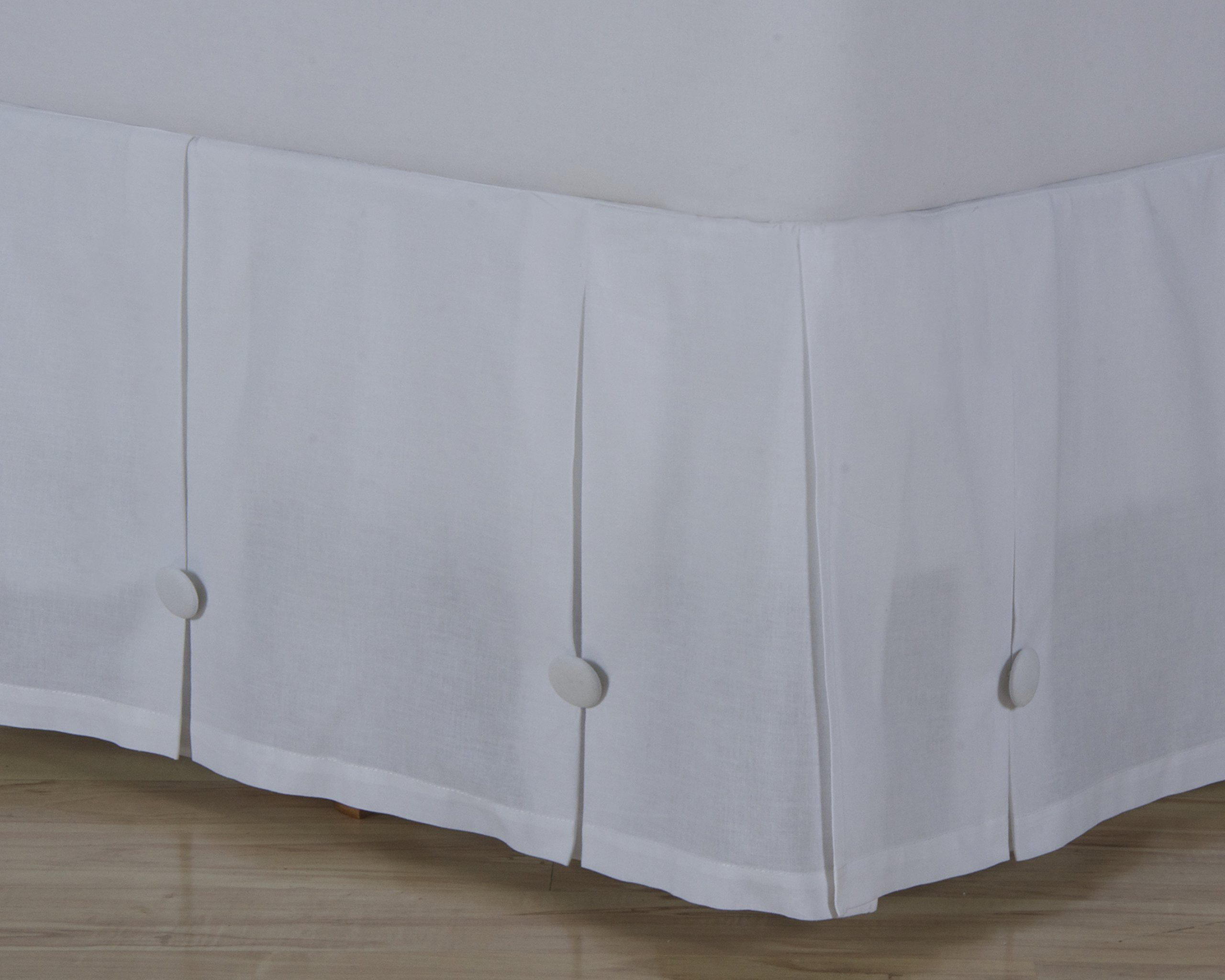 D. Kwitman & Son Box Pleated with Buttons 18'' Drop Bed Skirt, Queen, White by D. Kwitman & Son