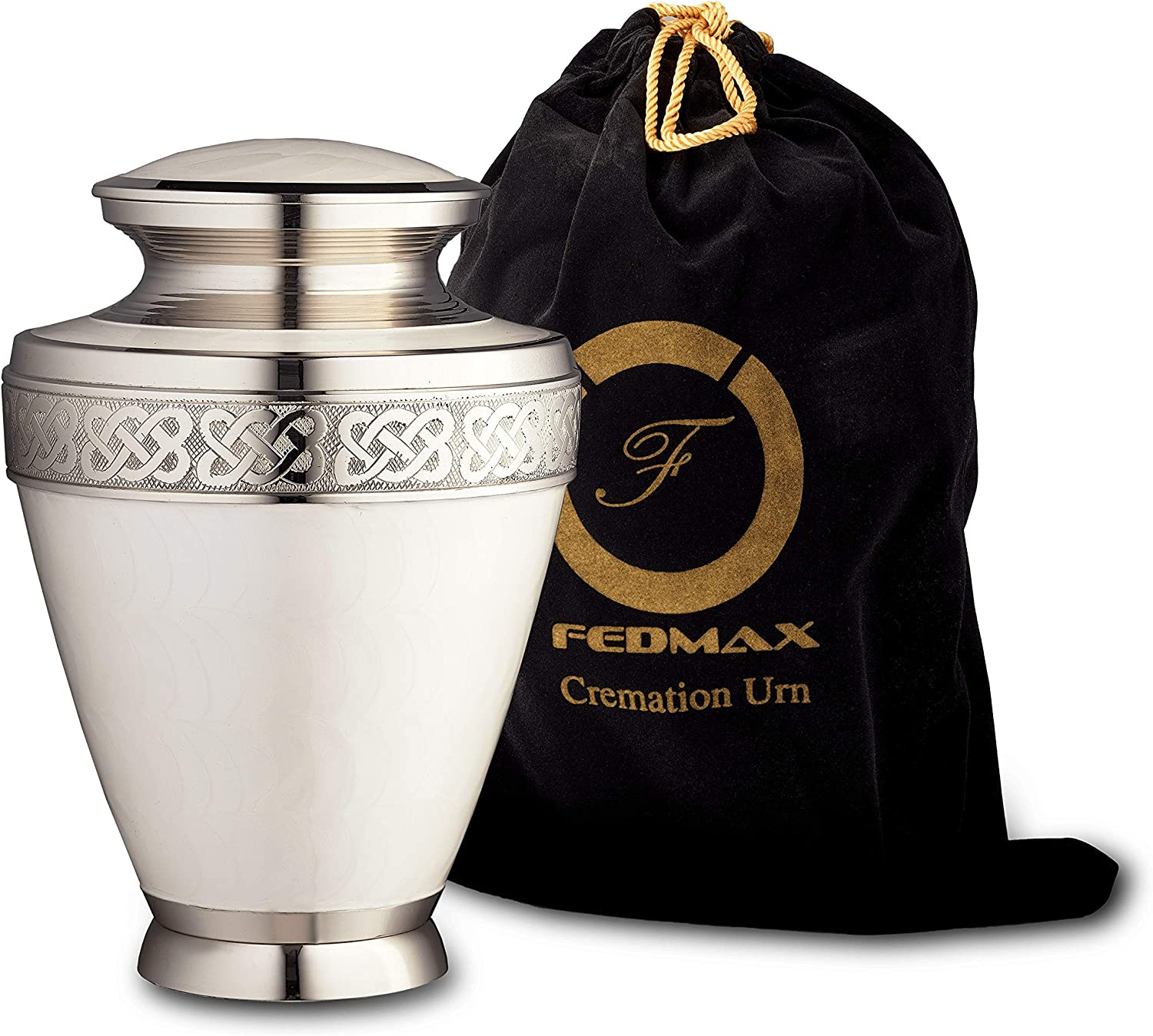 Cremation Urn for Ashes, for Adults up to 200lbs, White Funeral Burial Urns Made from Brass w/Satin Bag for Human Ashes.