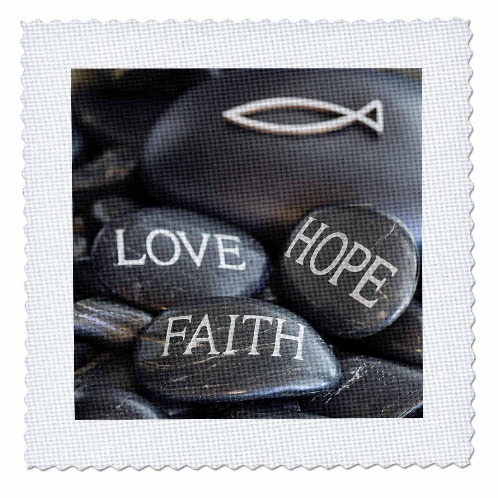 3dRose Andrea Haase Still Life Photography - Black Pebble Engraved, Love Faith Hope - 16x16 inch quilt square (qs_268541_6) by 3dRose