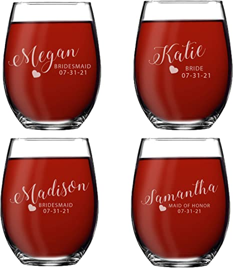 Set of 5 Personalized Bride or Bridesmaid Dress Tote Bag and 5 Wine Glasses Set