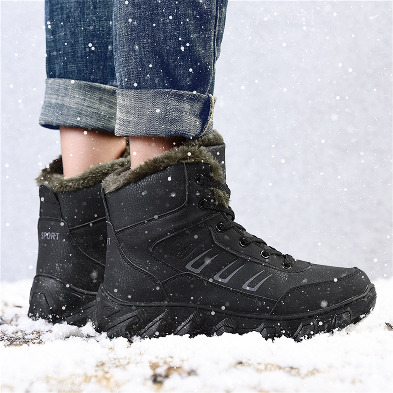 Barerun Sole Mens Leather Fur Lining an-Slip Rubber Sole Barerun Winter Snow Boots B075MBV7BL Snow Boots 4a817d