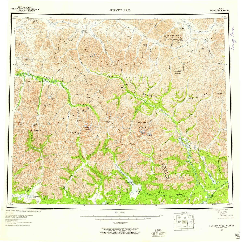 Amazon.com : YellowMaps Survey Pass AK topo map, 1:250000 ...