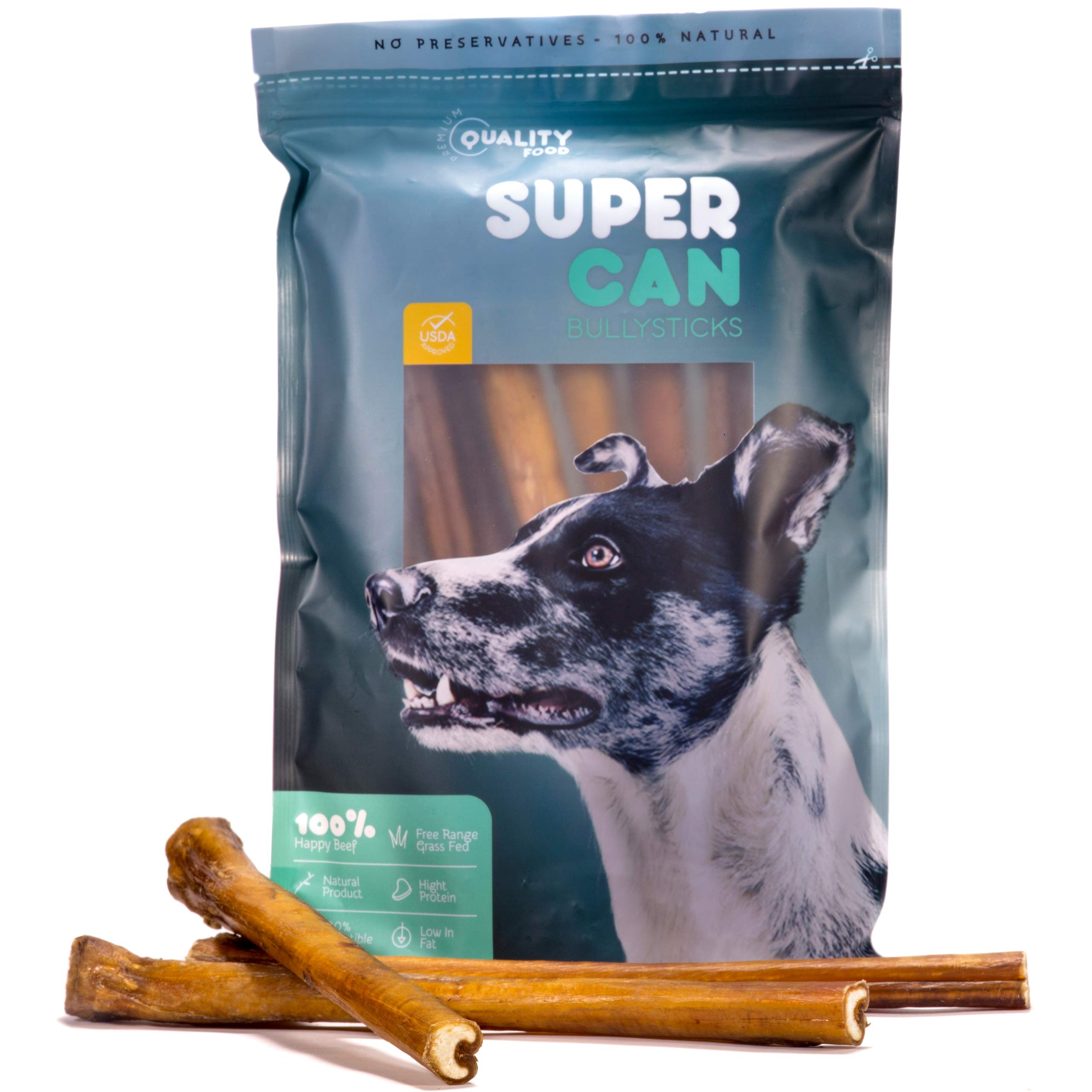 12-inch Monster Bully Sticks [ 8 Pack ] by Super Can Bully Sticks, 100% Natural Dog Treats for Aggressive Chewers and Large Dogs