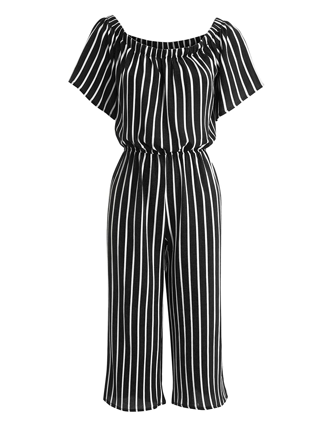 fb92e9c945b Amazon.com  Made By Johnny Womens Striped Off Shoulder Gaucho Jumpsuit  Romper  Clothing