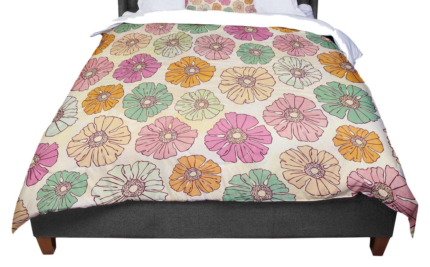 KESS InHouse Heidi Jennings Vintage Petals Tan Pink Twin Comforter 68 X 88