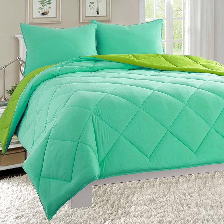 (King, Aqua/Lime) Elegant Comfort All Season Light Weight Down Alternative Reversible 3-Piece Comforter Set, King, Aqua/Lime B01DPZ8U8U キング|Aqua/Lime Aqua/Lime キング