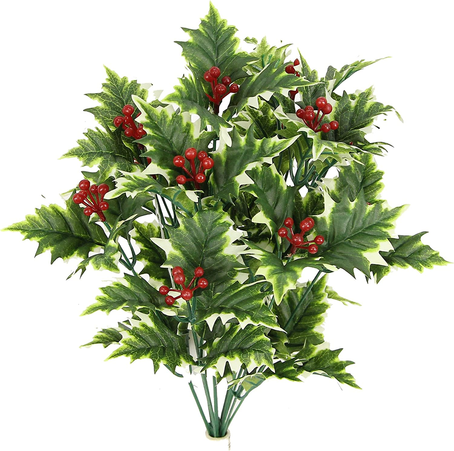 Green Admired By Nature GPB5811-GREEN 12 Stem Artificial Holly Leaves Berries Mixed Bush
