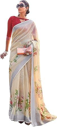 Beige Color Soft Silk Saree Sari Purple Blouse Bollywood Party Wear Ethnic Wear