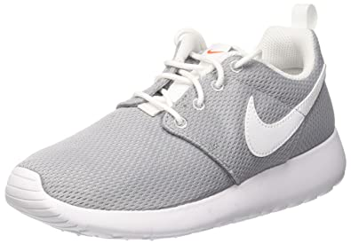 sports shoes 899a8 be287 Nike Youth Roshe One (Wolf Grey White Safety Orange)(5.5 M