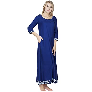 34bd109247 Patrorna Blended Women s A Line Empire Waist Nighty Night Dress Gown in Royal  Blue (Size S-7XL