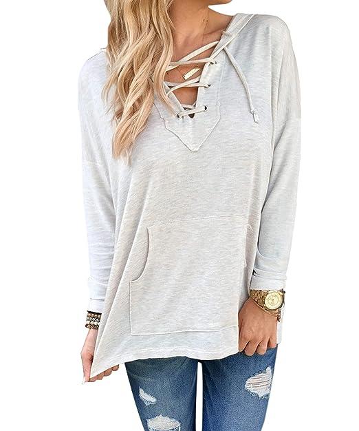 a6dc4c055c81c CRAVOG 2016 moda mujeres Pull blusa manga larga sudadera con capucha Tops  Cavalier abrigo sudadera Outwear gris claro  Amazon.es  Ropa y accesorios