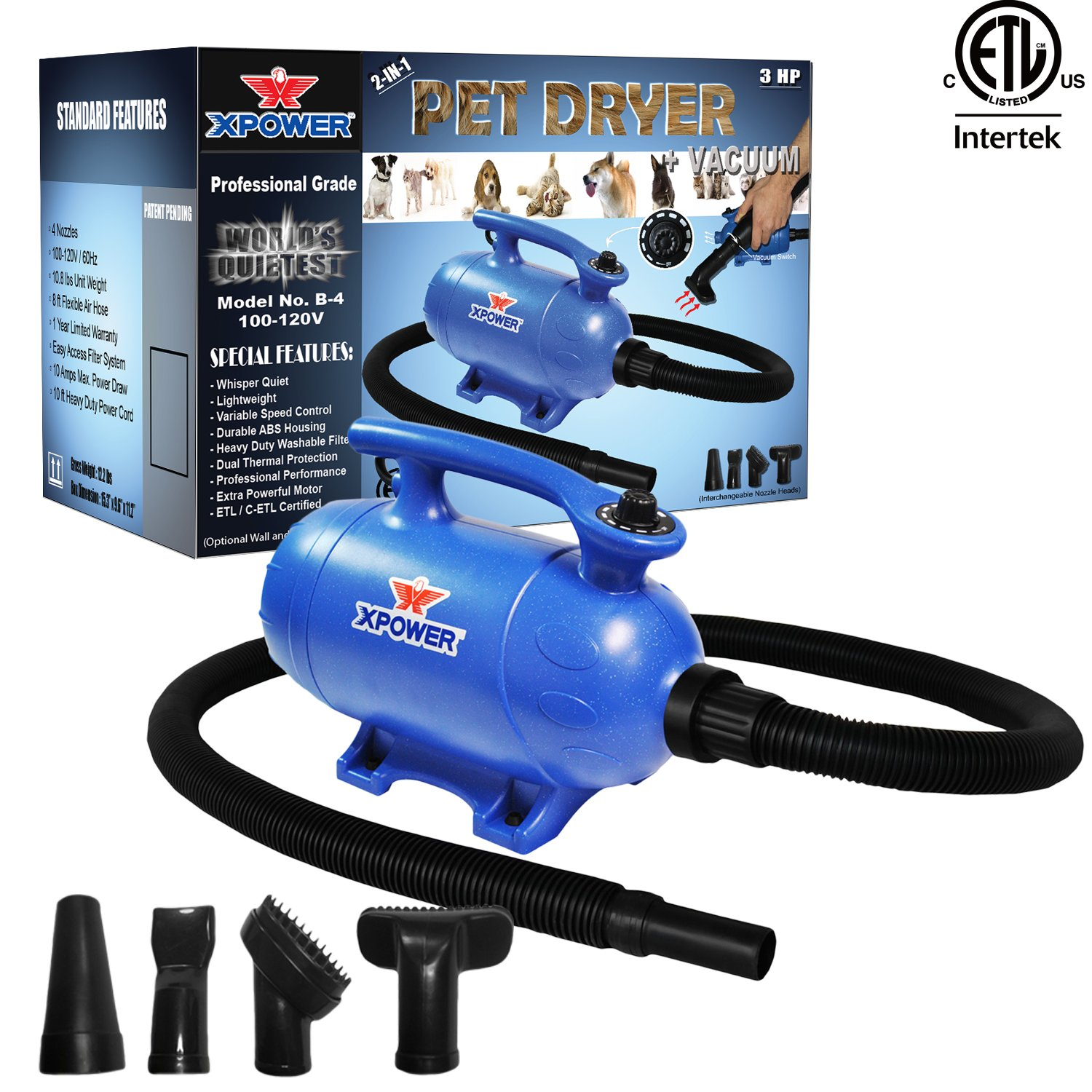 Xpower ''B-4'' 3 HP Variable Speed 2-in-1 Pet Dryer and Vacuum
