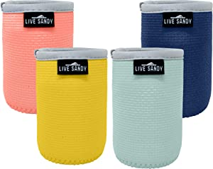 Live Sandy Can Cooler Sleeves – Caribbean Collection - 4 Pack Neoprene Insulated Stubby Holder for Cans Fits Regular Size 12 oz Cans
