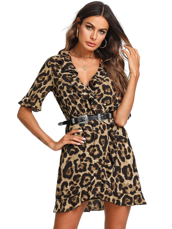 TALLA XS. SOLY HUX Mujer Vestidos Sexy Leopardo Mini Corto de Manga Corta con V Cuello para Fiesta Multicolor XS