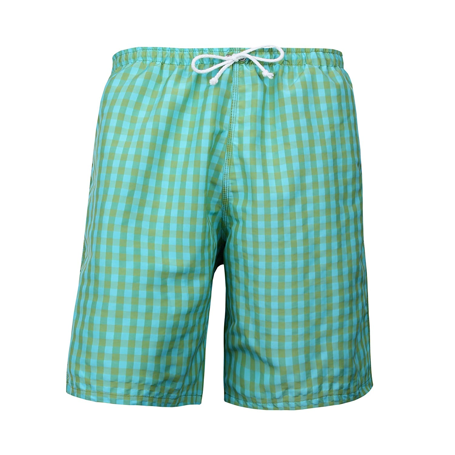 Puuper Leander Men's Swimming Shorts Chequered Green / Blue